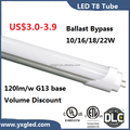 2017 newest 4ft Al+PC LED tube 16/18/22w 120lm/w t8 led tube ballast compatible or ballast bypass with ETL UL DLC listed