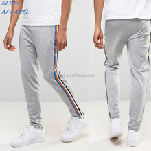 Super Skinny Joggers With Contrast Tape In Grey Hot Sales Slim Fit Cotton Jersey Men Knitted pants mens sports track pants