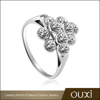 OUXI 2015 luxury style silver wedding sterling 925 silver ring Y70072