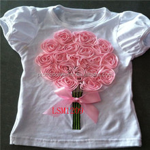 2016 new style girls boutique pink flower t-shirts,white choli for kids/adults,sweety puff sleeve tops