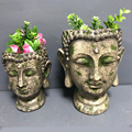 Artificial mini size home decorative buddha head flower pot