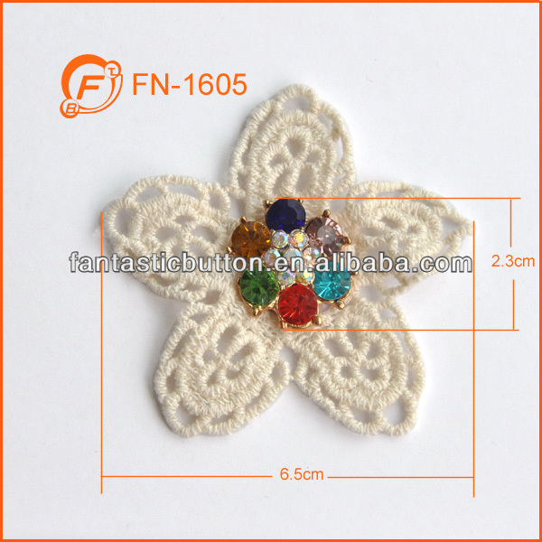 colorful stones quality crochet cotton flower patch