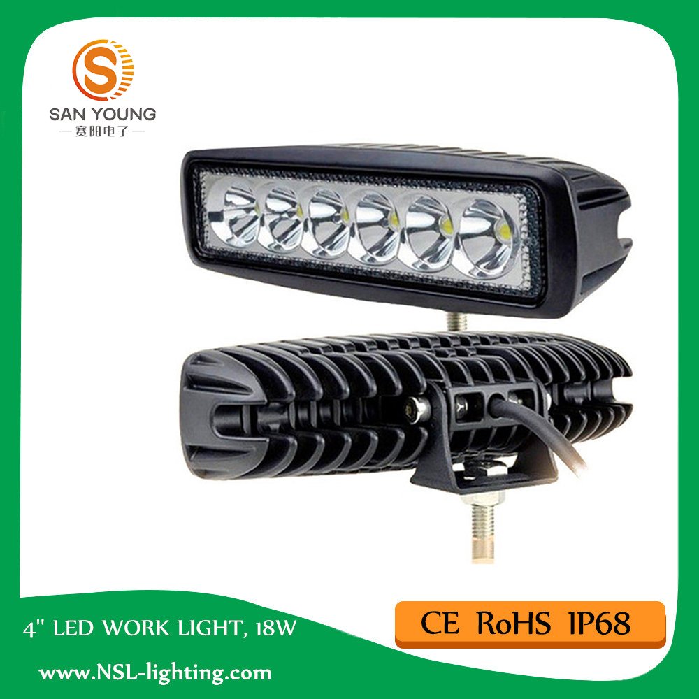 Auto LED work light bar 18w 6 inch Epistar chip for auto cars 4x4 offroad Driving