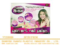 funny for girl kid DIY new educational plastic B/O Spin art nail salon finernails make