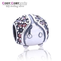 Animal Beads Black Crystal Jewelry Set 925 Sterling Silver Ladybird Charm With Red Zircon Stone Fit European Bracelets