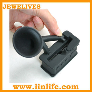 promotional gifts silicone horn stand, silicone speaker, amplifier for iphone 4