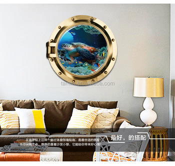 Removable custom hot sales creative PVC bedroom warm home baby house 3D sea turtle animal wall sticker