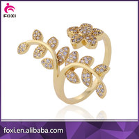 FOXI Wholesale yellow gold cubic zirconia ring gold plated for women