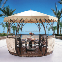 China rattan gazebo with PE rattan iron frame and polyester fabric