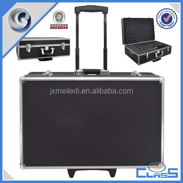 MLD-AC2120 Black rolling high-quality aluminum trolley camera case
