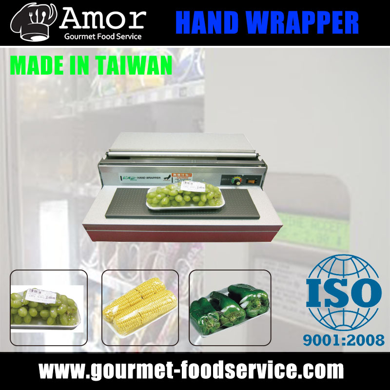 Food packaging film hand wrapping machine available for film