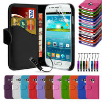 Leather Wallet Pouch Flip Case Cover For SAMSUNG GALAXY S3 mini i8190--Laudtec
