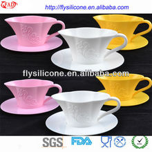 Hot Selling Stoup Style Square Silicone Cake Cups Mold With Suitable Plastic Saucer High Quality