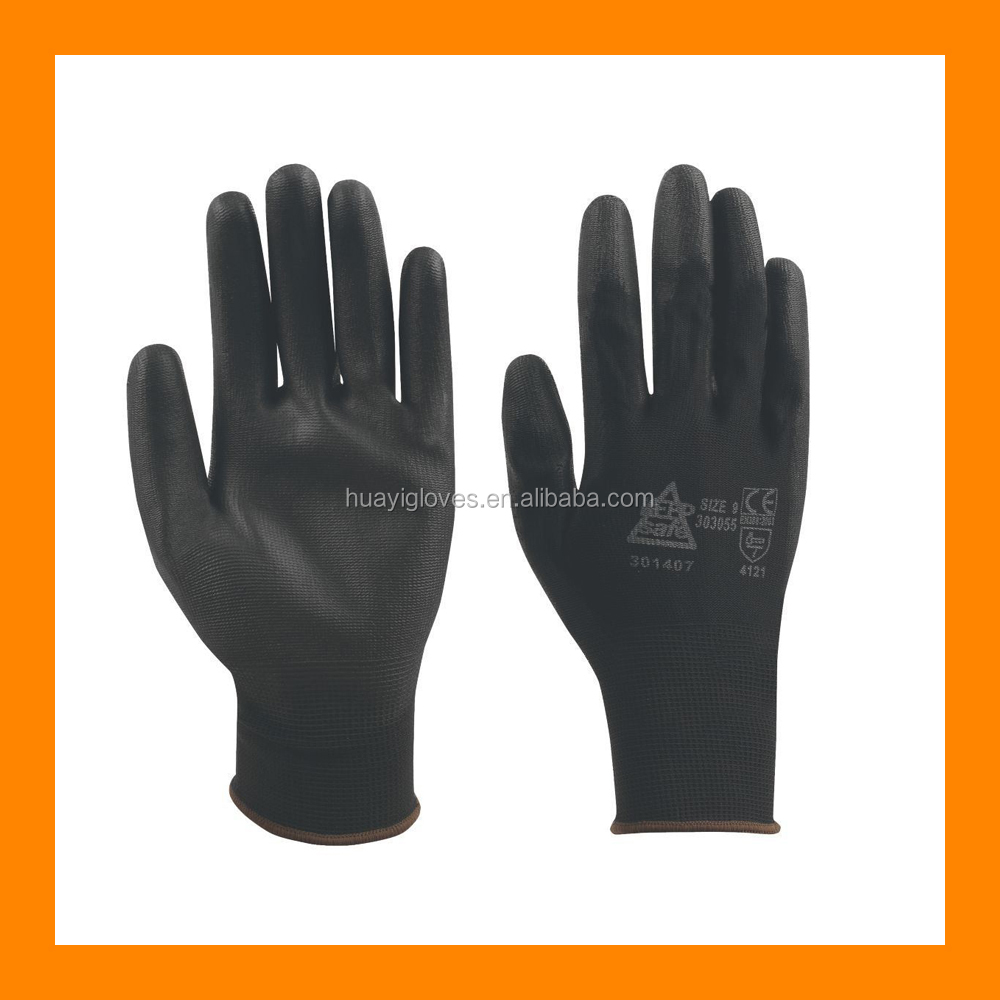 Nylon Knitted Shell Gloves with Black PU Dipped Palm and Fingers PU Dipped Gloves