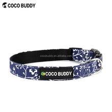 Best Selling Products Big Size Cute Printing Canvas Dog Collar Leash and Adjustable Lead