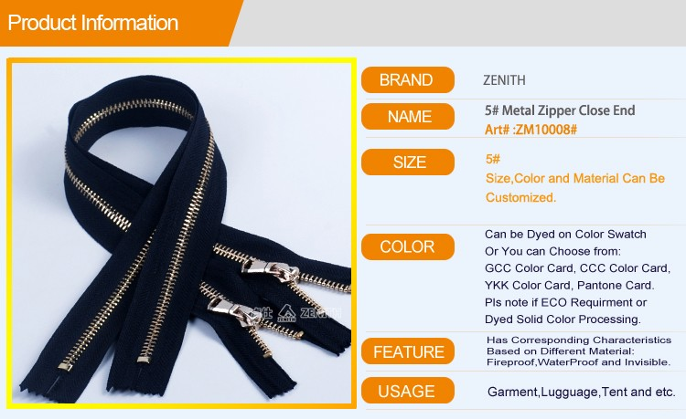 5# Factories Good Price Leather Jacket Metal Zipper Gold teeth ZM10008