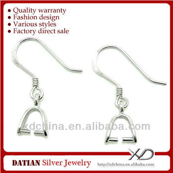 XD P054 925 sterling silver hooks earwire with clasp earring findings