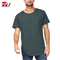 Long lined curved plain no brand dubai wholesale 65% polyester 35% rayon t-shirt