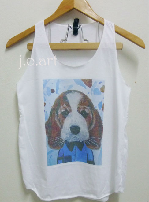 Face beagle dog art tank tops sleeveless vest tops, singlet top for women