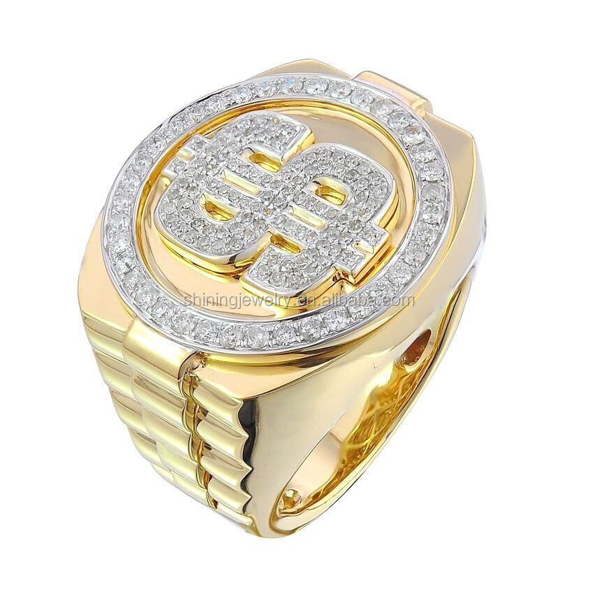 Us Size 5 14 Mens Gold Plated Hip Hop Dollar Sign Ring Buy Dollar Sign Ri