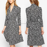 British style long sleeve bubble print tea dress elegant v neckline women outwear formal dress office ladies western wear