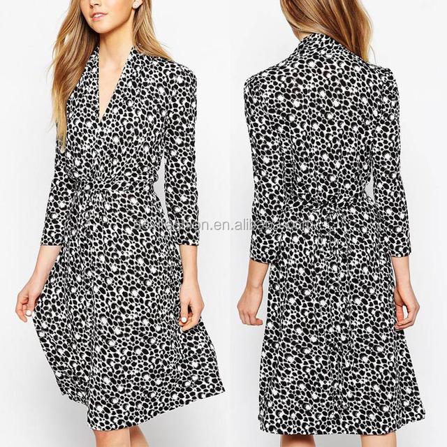 British style long sleeve bubble print tea dress elegant v neckline women outwear formal dress office ladies western wear