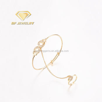 Gold Plated Brass Ring linked Jewelry Bracelet with CZ