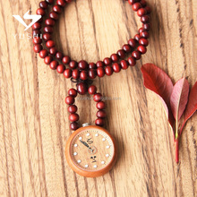 Wholesale bead necklace design wood watch with custom logo japan movement quartz wood bead wood watch for women
