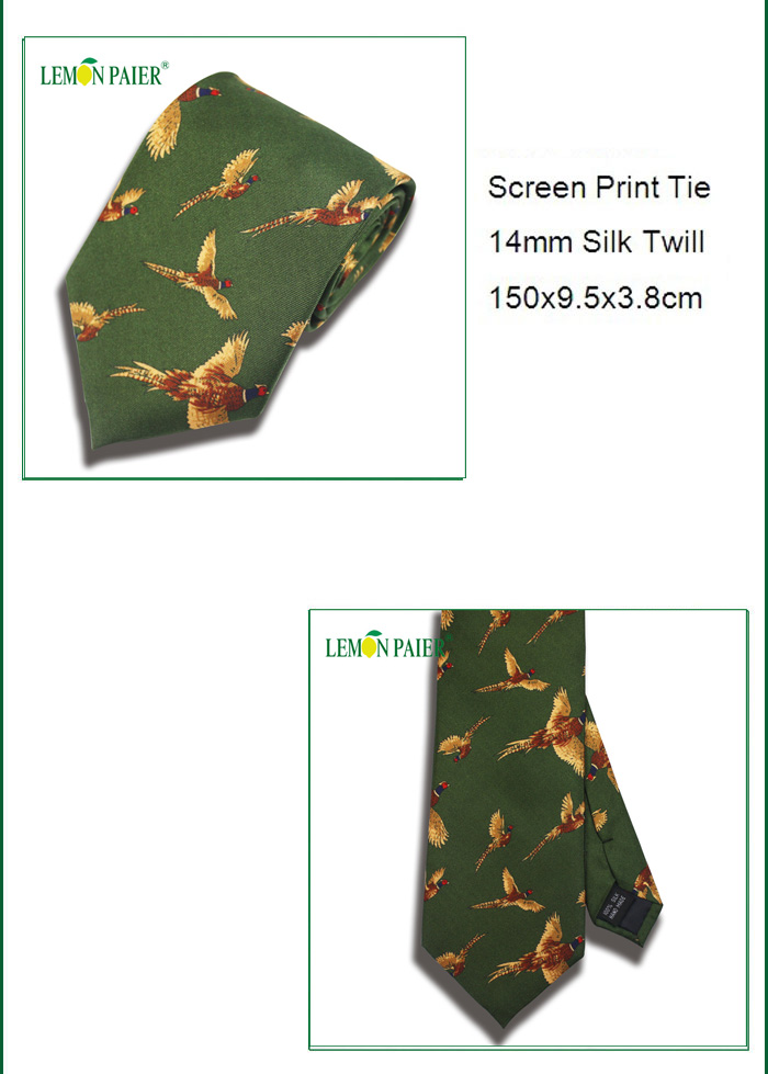 Custom Silk Printing Hot Sale Pheasants Necktie