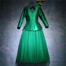 Elegant Two-piece Green Color Tulle Puffy Knee-length Evening Dress Long Sleeve For Party