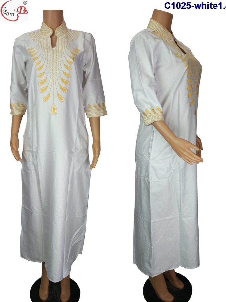 Chowleedee Summer newest african bazin embroidery design dress C1025 white bazin riche kaftan african dress for ladies