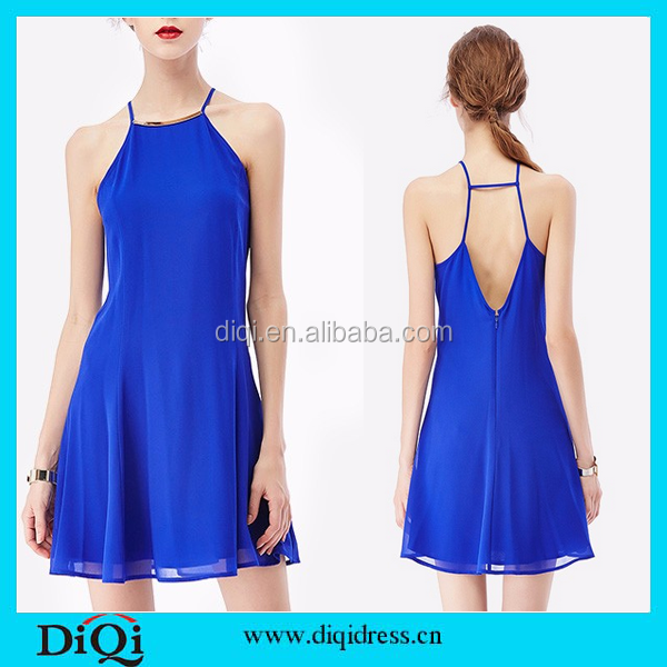 European style 2015 new summer women dresses chiffon party dress royal blue fashion dress