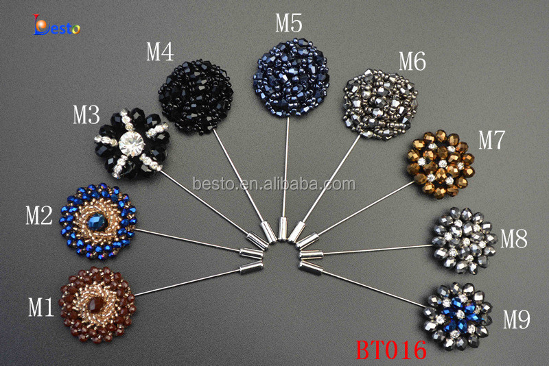 2015 New collection Beautiful handmade shiny rhinestone center metal lapel pin