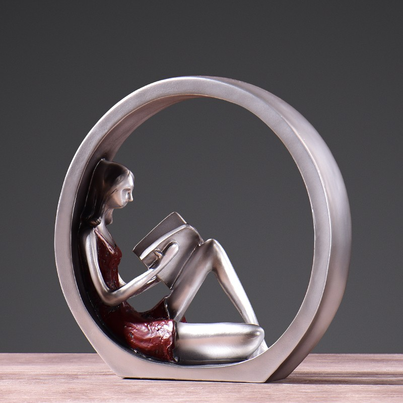 2017 New YB Home Decoration circle Woman resin figurine