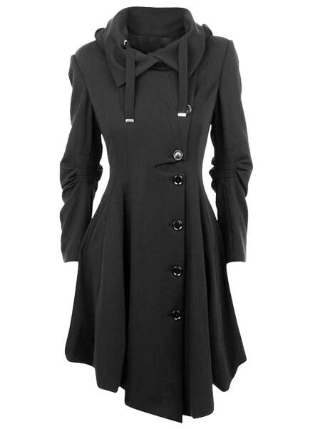 Asymmetric Black Coat Stand Collar Long Sleeve Women Overcoat Elegant Single-Breasted Slim Fall Winter Women Coat