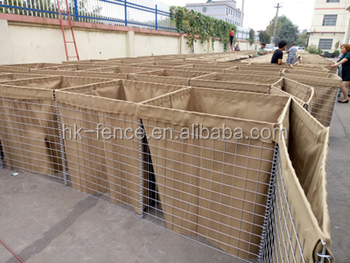 military hesco defence wall barrier 50x50 mm mesh cell with geotextile liner