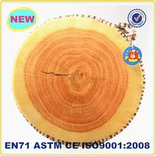 Cute soft handmade wood shaped backrest round floor cushion