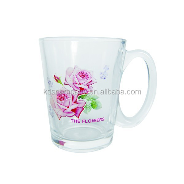 flower decal printed glass tea mug for promotion