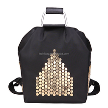 Black nylon rucksack bags fashion girls school bag waterproof backpack with leather handle