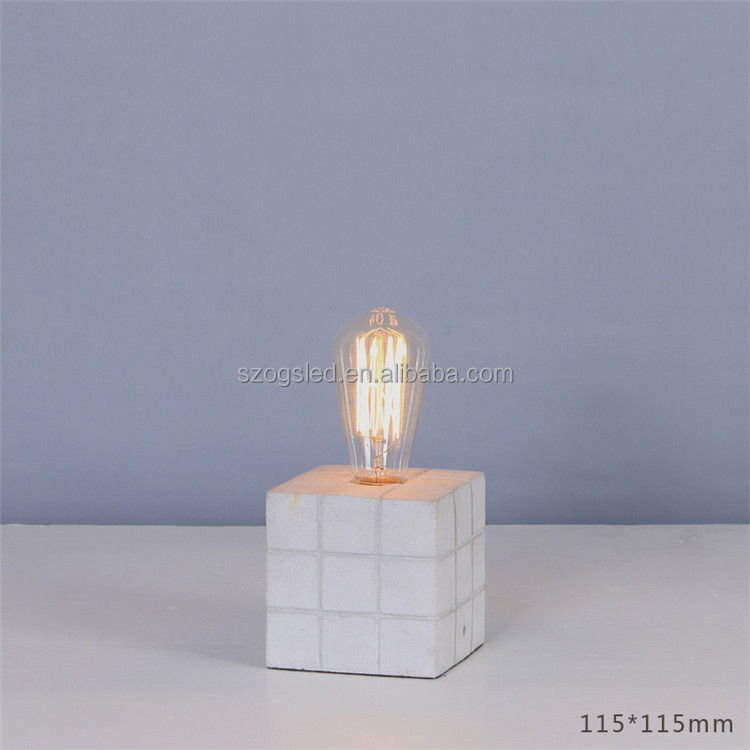 Wholesale Antique Blown E27 Filament Bare Bulb Lighting Fixture Industrial Cement Standing Bedside Table Lamp for Home Hotel