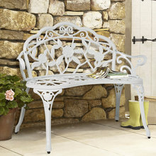 Outdoor Patio Garden Bench Park Yard Furniture Cast Iron Antique Rose White