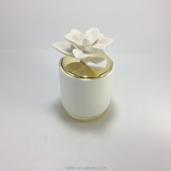Unique Ceramic candle jar with ceramic flower gold lid