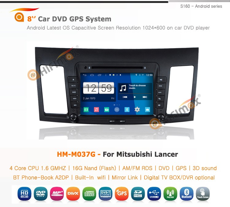 HIFIMAX Android 4.4.4 Mitsubishi Lancer car stereo with gps navigation mp3 radio cd player car dvd player for Mitsubishi Lancer