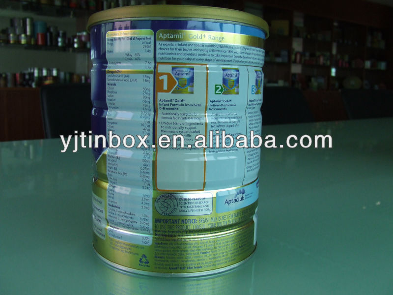 decorative air tight printed metal milk powder can