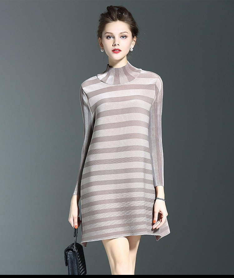 Korean fashion loose A dress with turn down collar