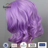 Paypal Accept Charming Purple Cheap Synthetic Hair Short Bob Wavy Wig