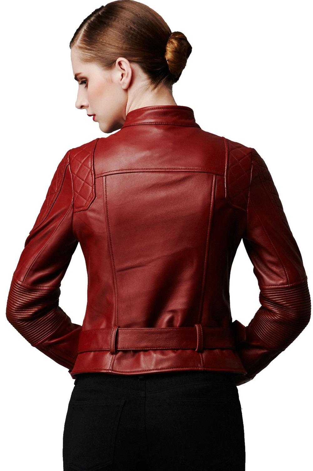 Ladies Classic Biker Leather Jacket for Womens