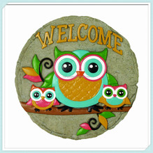 Round decorative owls welcome cheap garden stepping stones