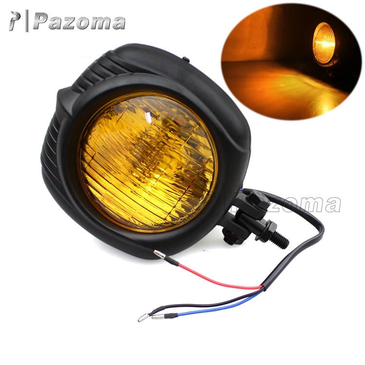 PAZOMA Aluminum Black Housing Yellow Tail Light H4 12V 55/60W Motorcycle Taillight for Choppers / Touring / Custom Bikes