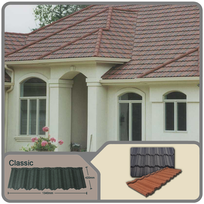 sand steel roof tiles uk/color stone coated metal tile roof with metal roof trusses/Classical stone coated metal roofing panel